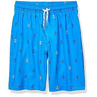 Essentials Boys' Little Swim Trunk, Blue Anchors, Small