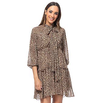 Leopard print dress with loop neck and flounces