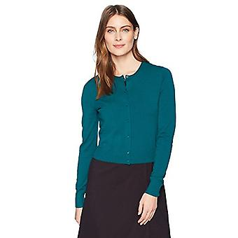 Marque - Lark & Ro Women's Crewneck Cropped Cardigan Sweater, Green, Me...