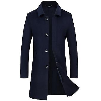 Men's Wool Overcoat Long Pea Coat Winter Trench Coat Slim-fit Business Top Coat