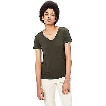 Brand - Daily Ritual Women's Jersey Short-Sleeve V-Neck T-Shirt, Forest Green, X-Large