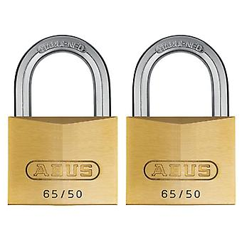 ABUS 65/50mm Brass Pad Lock Twin Pack Card con ABU6550TC