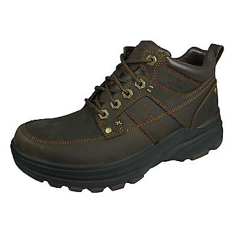 Skechers Holden Lender Mens Leather Boots Relaxed Fit - Brown