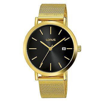 Lorus Mens Gold Mesh Armband Uhr mit Sunray Black Dial (Modell Nr. RH942JX9)