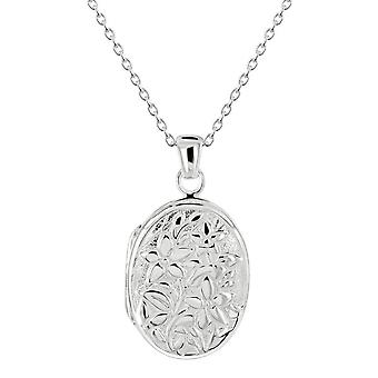 Dew Sterling Silver Oval Floral Locket Pendant 98991HP028