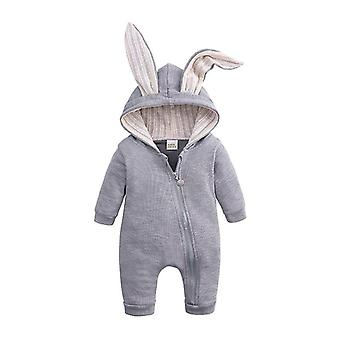 Autumn/winter Warm, Rabbit Ears Romper With Long Sleeves
