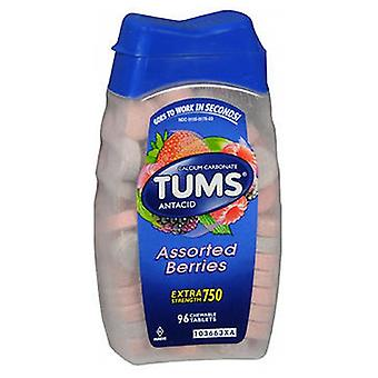 The Honest Company Tums Extra Strength Antacid Calcium Supplement, Assorted Berries 96 tabs