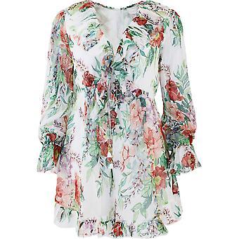 Zimmermann 9120ybtdivoryfloral Women's White Silk Dress