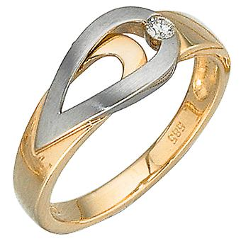Kvinnors Ring 585 Guld Gult Guld Vitt Guld bicolor matt 1 Diamond Brilliant