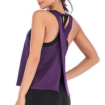 Naiset Kesä I-muotoinen Selkäliivit Tankit Top- Running Sport Shirt, Gym Yoga Top,