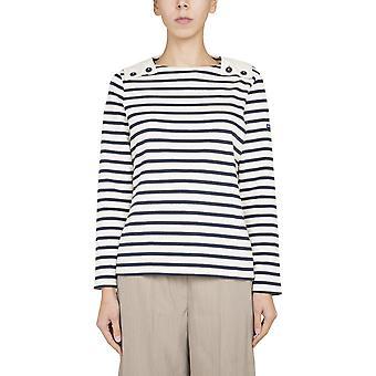 Saint James 892550 Women's Beige/blue Cotton Sweater