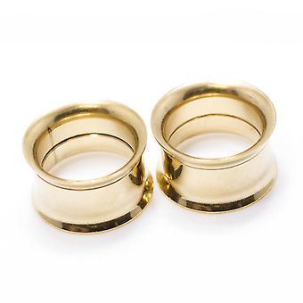 Paar Gold ip chirurgischen Stahl doppelt ausgestellt Tunnel Stecker Ohr piercing Messgeräte