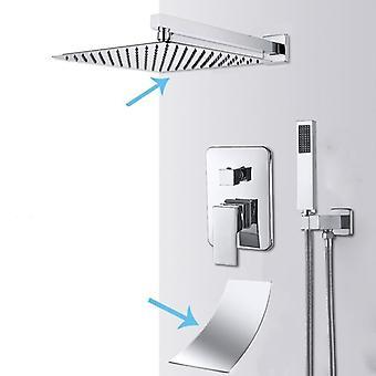 Wall Mount Bathroom Rain Waterfall Shower Faucets Set