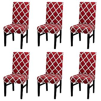 6pcs Stretch Geometric Pattern High Back Dining Chair Cover