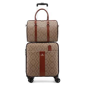 Stylish Pu Leather Set Suitcase With Handbag Female Trolley Luggage Fashion