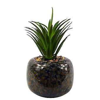 18cm Ceramic Spotted Planter with Artificial Green Dracaena Plant