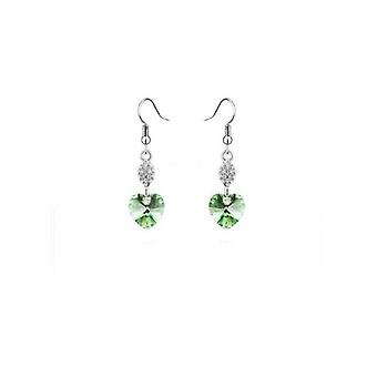 Peridot Green - Swarovski Elements Crystal Heart Earrings Sterling Silver