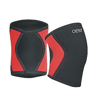 L Size Black Red Diving Material Neoprene Basketball Running Fitness Knee Pads,