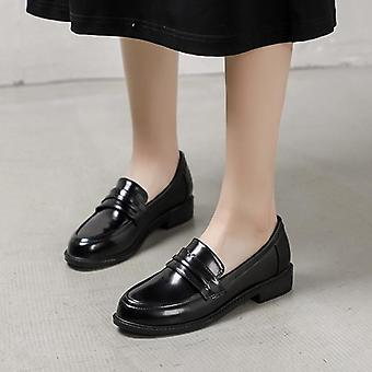 Leather Flats British Street Shoes Ladies Derby Shoes College Loafers Women