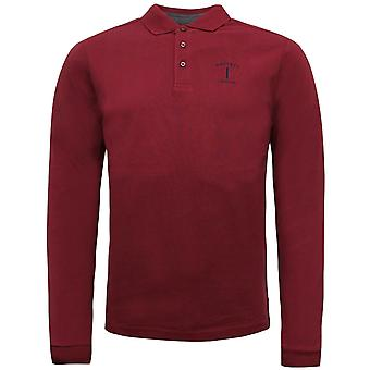 Hackett Mens Mix Woven Long Sleeved Polo Shirt Burgundy T-Shirt HM550696 289