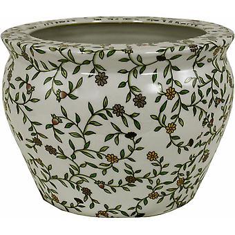 Ceramic Planter, Vintage Green & White Floral Design