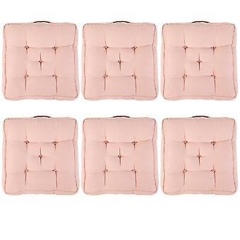 """Pink Pack of 6 Cotton Armchair Booster Cushion 4"""" Thick Seat Pad"""