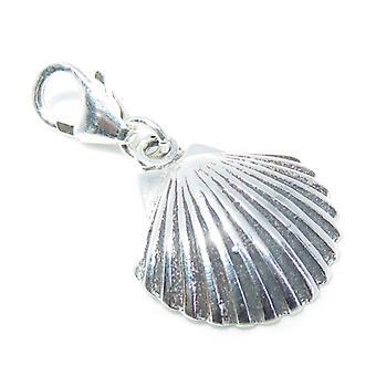 Scallop Shell Sterling Silver Clip On Charm .925 X 1 Shells Charms - 8278