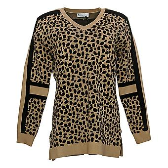 Style List by Micaela Women's Sweater Animal Jacquard Brown A388845