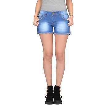 Faded Denim Hot Pants Shorts Raw Hem - Blue