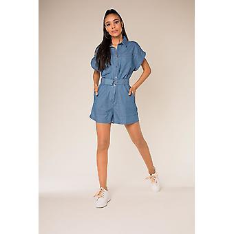 Womens Denim Summer Jumpsuit Jeans Design Geral Blusas Combi Shorts Cinto Incl