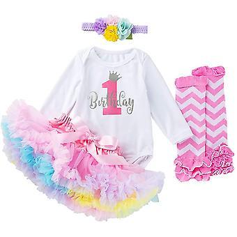Toddler Girls My 1st Birthday Outfits Long Sleeve Romper Tutu Skirt Leg Warmers Headband