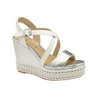 Ravel Yulee Wedge Open-Toe Sandals  - Silver
