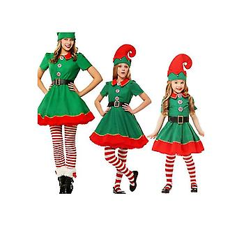 Christmas Costume Parent Child Suit, Christmas Elf Cosplay, Green Christmas Costume
