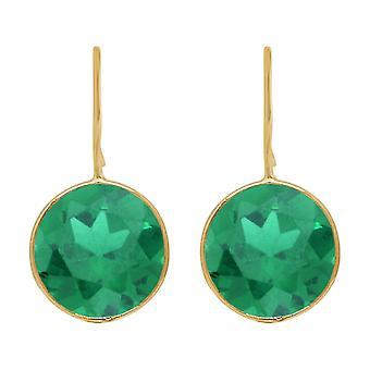 Gemshine earrings green tourmaline quartz gemstones. 925 Silver, gold-plated, rose