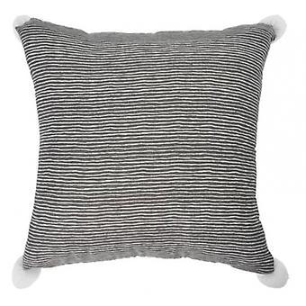 pillow striped 45 x 45 cm textile anthracite/white