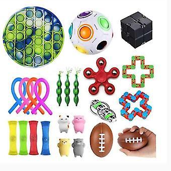 PRO 24pcs Fidget Pop it Toys Set-pakke til børn og voksne