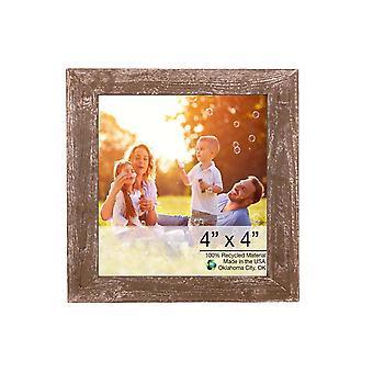 """4"""" x 4"""" Rustic Farmhouse Espresso Brown Wood Frame"""