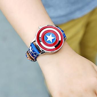 Captain America Children's Watch Boy Disney Flip Cover Electronic Quartz Watch