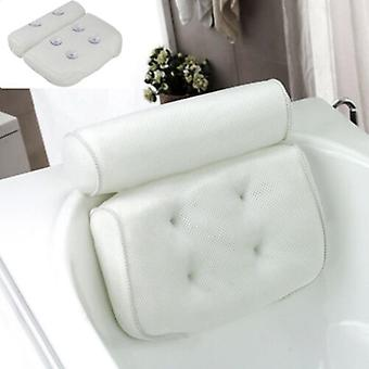 Bath Pillow With Suction Cups Neck And Back Support For Home Hot Tub Bathroom