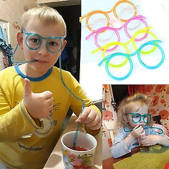 Fun Soft Plastic Glasses Straw Jokes Drinking Toys Kids Baby Birthday Toys Bar Party Supplies