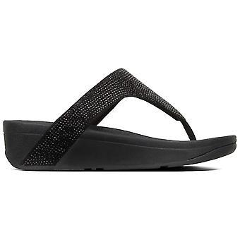 Fitflop™ Lottie Black Shimmer Crystal Toe Post Sandaal