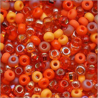 Tšekin lasiset siemenet, 6/0 Pyöreä, 1 unssi, L.A. Sunset Orange Mix