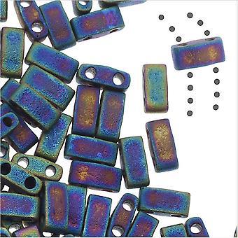 Miyuki Half Tila 2 отверстия прямоугольные бусины 5x2,3 мм - матовый черный AB 7,8 грамма