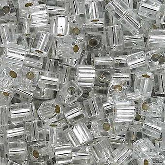 ميوكي 4mm مكعب الزجاج الخرز 'الفضة اصطف كريستال' #1 10 غراما
