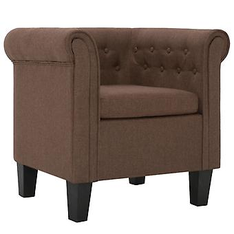 vidaXL fauteuil met kussen bruine stof