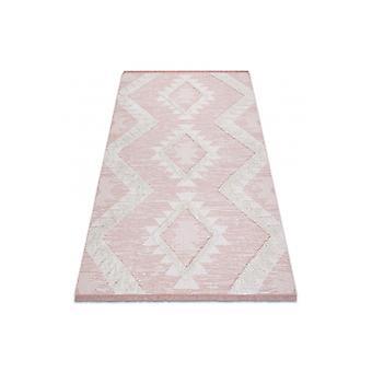 البساط ECO SISAL Boho MOROC الماس 22312 هامش - مستويين من الصوف الوردي / كريم، البساط المعاد تدويرها
