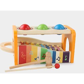 Rainbow wooden children's percussion instrument toys, infant early education educational toys az8669
