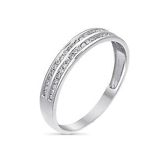 Ring Alliance '2 Rader av kärlek' Vitt guld och diamanter