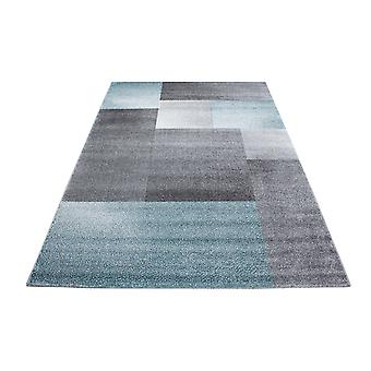 Kort stapel design matta rektangel pläd mönster vardagsrum matta gråblå fläckig