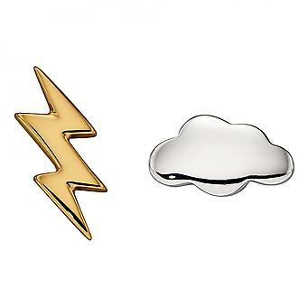 Begin Cloud En Lightning Bolt Stud Oorbellen E6006